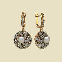 Изысканные объемные золотые сережки 585* с жемчугом