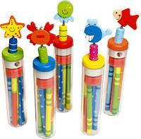 Набор карандашей с точилкой и резинкой Деревянные развивающие игрушки