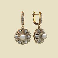 Круглые удлиненные золотые сережки 585* пробы с жемчугом