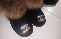 """Красивые, зимние угги """"Короткие с декором Chanel"""" натуральный замш и мех енота"""