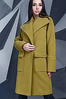 Стильное Короткое Пальто на Осень с Широким Воротником Хаки