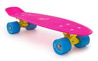 Пенни Борд Miller «Флюоресцентный Розовый» 22,5″ Голубые Колеса / пенниборд скейт (penny board), скейтборд