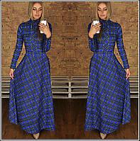 Длинное платье с расклешенной юбкой и планочкой на груди