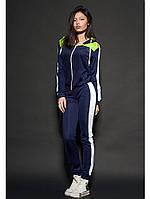 Женский молодежный спортивный костюм темно-синего цвета