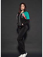 Женский спортивный костюм черно-бирюзового цвета