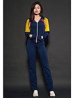 Женский спортивный костюм цвет темно-синий с горчицей