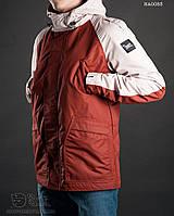 Парка куртка мужская осень Staff pas beige with maroon Art. HA0053