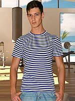 Мужская футболка (Тельняшка) (Белый с синим)