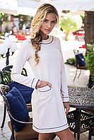 Элегантное мини платье с длинными рукавами в ретро стиле бежевое