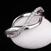 Серебряное кольцо с фианитами Украина (родий)