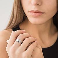 Золотое тройное кольцо из белого золота (фианиты)