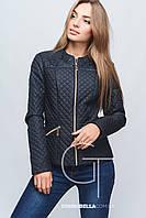 Женская молодежная короткая осенняя куртка  22837 темно-синяя 42-52 размеры