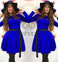 Платье с пышной юбкой и поясом мини разные цвета SMc614