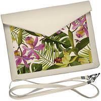 Белый клатч конверт с цветочным принтом