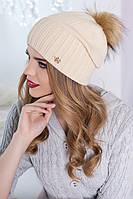 Красивая женская шапка с пампоном в 11ти цветах 4315
