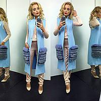Женский стильный жилет из кашемира и смеховыми карманами (3 цвета)