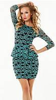 Восхитительное женское платье с баской прилегающего фасона рукав три четверти гипюр