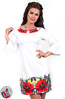 Платье белое с принтом Маки и широким длинным рукавом. Арт-2572/36