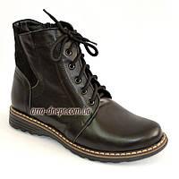 Женские кожаные зимние ботинки на шнуровке. 38 размер, фото 1
