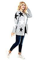 Кардиган вязанный Звезда белая/черная, женский вязанный кардиган, кардиган со звездами, дропшиппинг поставщик