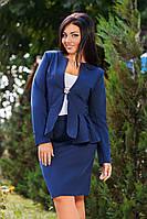 Д1073 Элегантный костюм пиджак с юбкой размеры 50-56 в расцветках