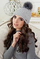 Женская шапка с бубоном из меха в 9ти цветах 4308