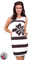 Платье полосатое белое с принтом Бант на талии. Арт-2580/36