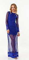 Роскошное вечернее женское платье из сетки с кружевной отделкой с длинным рукавом