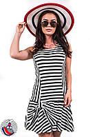 Платье полосатое черно-белое с бантиком на юбке. Арт-2571/36