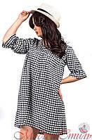Платье черно-белое в мелкую клетку. Арт-2588/36