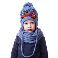 Теплая детская шапочка для мальчика с машиной и помпоном