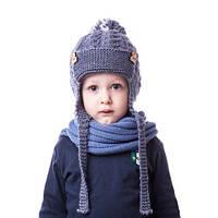 Вязаная детская шапочка для мальчика с мишками