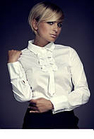 Блуза с длинным рукавом на манжете и галстучком декорированным бантиками