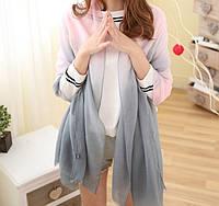 Модный женский двухцветный шарф серого оттенка с розовым