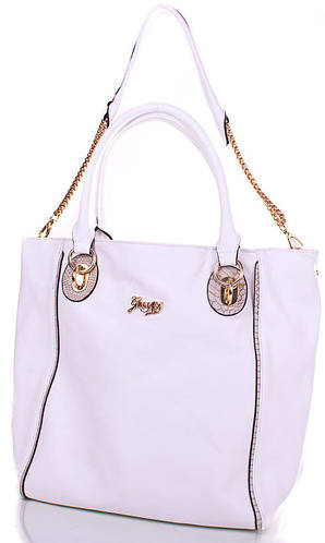 Женская великолепная сумка из качественного кожезаменителя GUSSACI (ГУССАЧИ) TUGUSB13-0095-11  (белый)