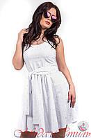 Платье белое по колено с узорами и пояском. Арт-2596/36