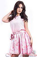 Платье розовое (шифоновый верх, атласная юбка) с пояском . Арт-2599/36