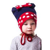 Красивая детская шапочка на девочку в горошек с бантиком