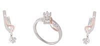 Серебряный комплект Корона. Серьги и кольцо из серебра с золотом