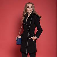 Пальто женское демисезонное на молнии с капюшоном в 3х цветах Москино кашемир