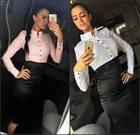 Блуза с воротником-стойкой на пуговицах