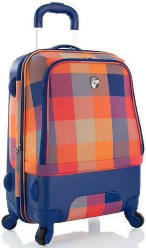 Интересный пластиковый 4-колесный чемодан 35 л. Heys Chroma Hybrid (S) Orange/Blue 923093, оранжево-синий