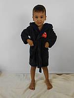 Детский махровый халат для мальчиков (серый+син)