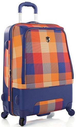 Красивый пластиковый 4-колесный чемодан 66 л. Heys Chroma Hybrid (M) Orange/Blue 923094, оранжево-синий