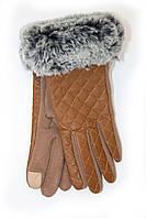 Коричневые перчатки с мехом, фото 1