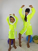 Детский желтый махровый халат Зайка