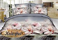 """Комплект постельного белья двуспальный, полисатин, 3D """"Утро с орхидеями"""""""