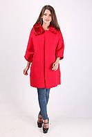 Красное пальто с меховым воротником, фото 1