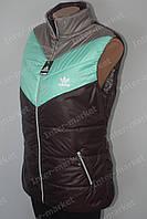 Женская спортивная жилетка безрукавка батал ADIDAS воротник стойка