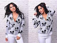 Вязаный женский модный свитер на молнии